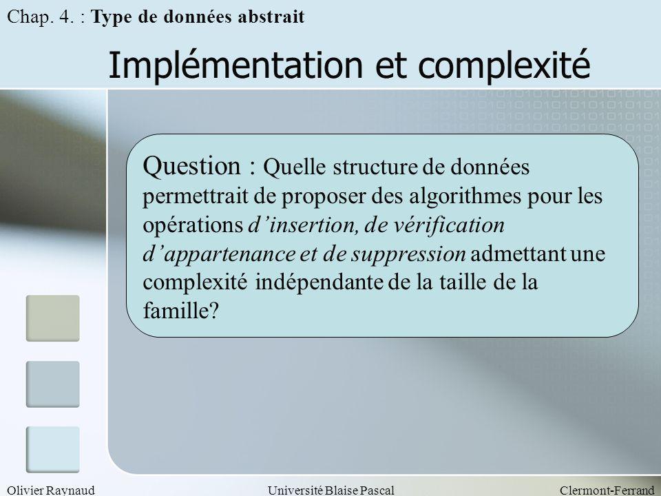 Implémentation et complexité