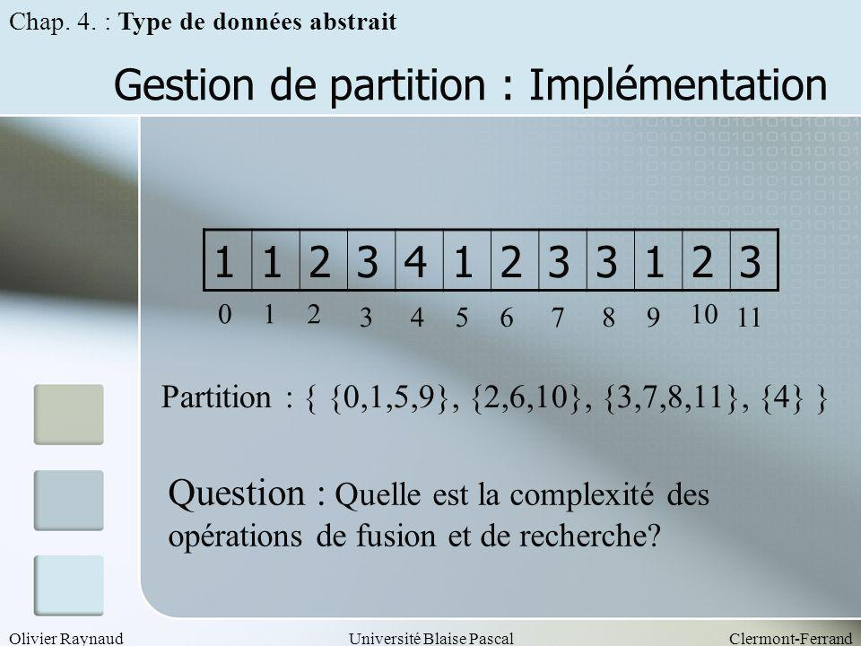 Gestion de partition : Implémentation