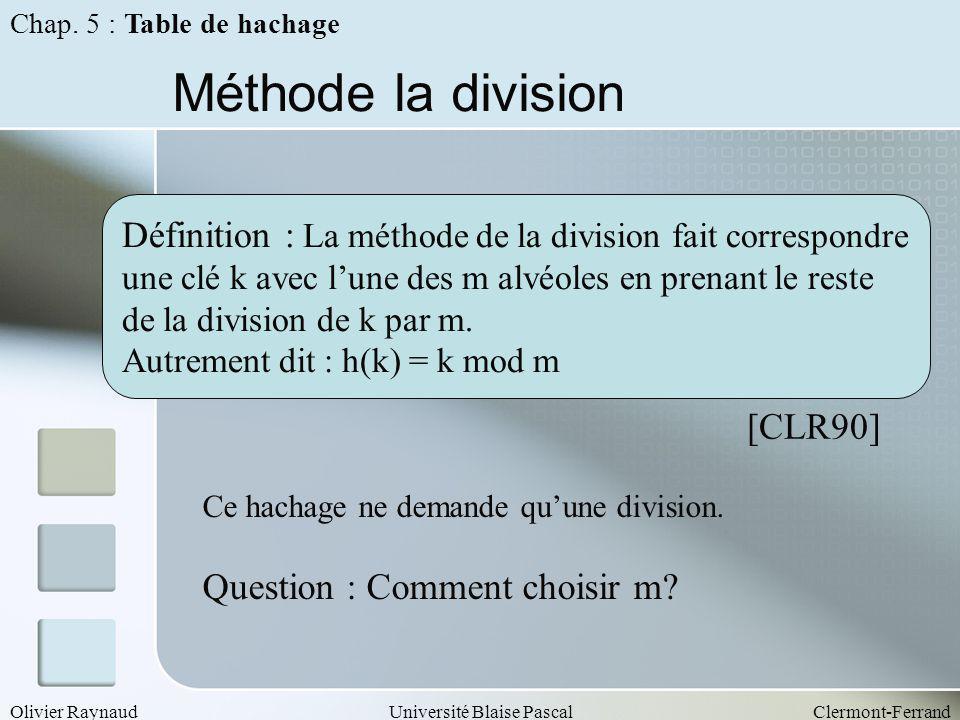 Chap. 5 : Table de hachage Méthode la division. Définition : La méthode de la division fait correspondre.