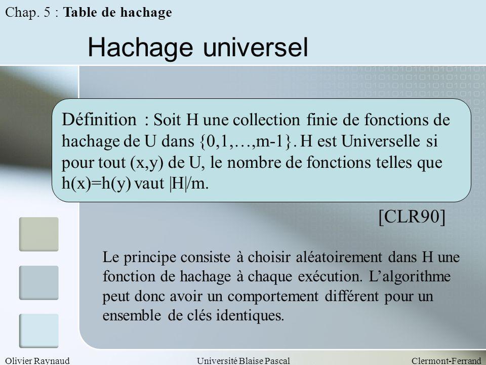 Chap. 5 : Table de hachage Hachage universel. Définition : Soit H une collection finie de fonctions de.
