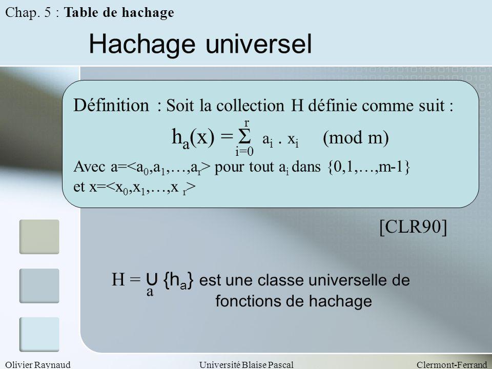 Hachage universel ha(x) = Σ ai . xi (mod m)
