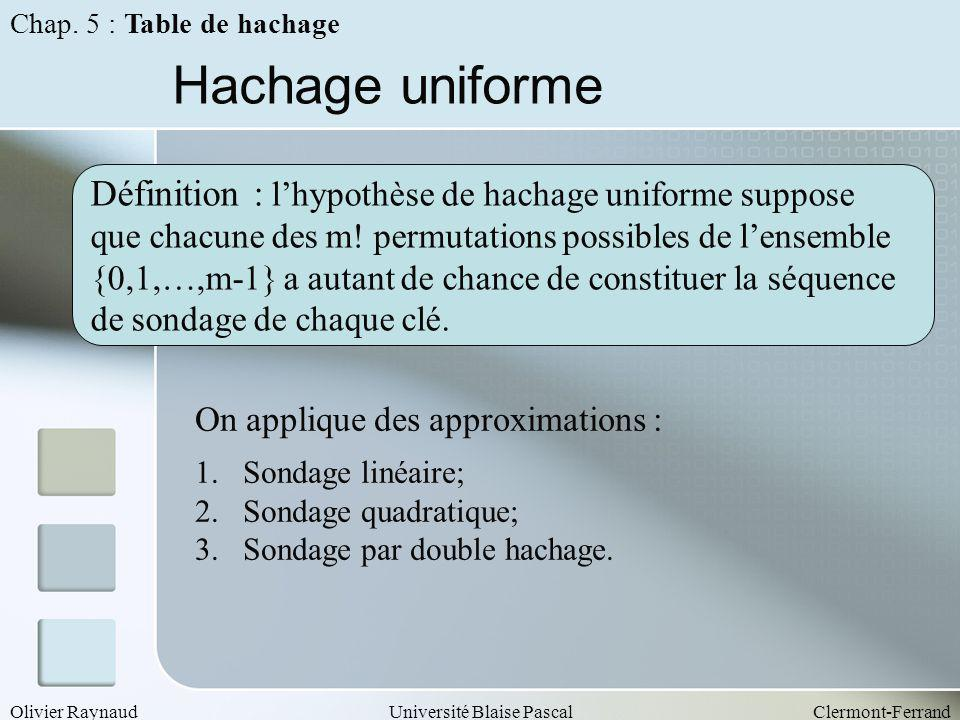Hachage uniforme Définition : l'hypothèse de hachage uniforme suppose