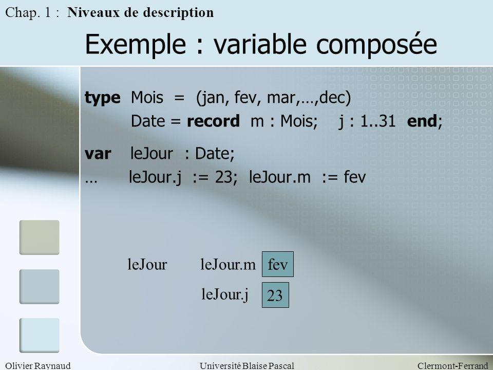 Exemple : variable composée