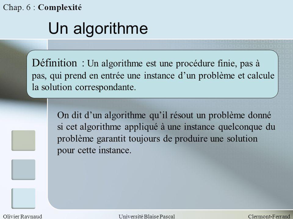 Chap. 6 : Complexité Un algorithme. Définition : Un algorithme est une procédure finie, pas à.