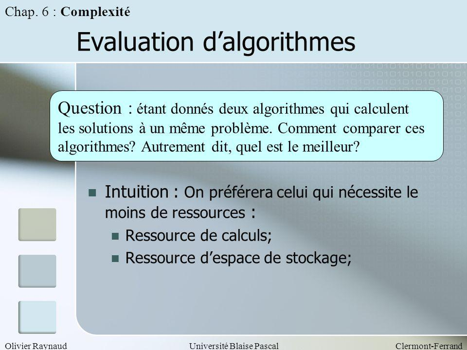 Evaluation d'algorithmes