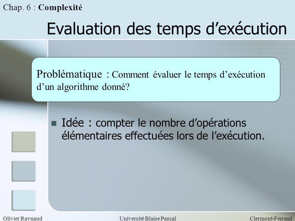 Evaluation des temps d'exécution