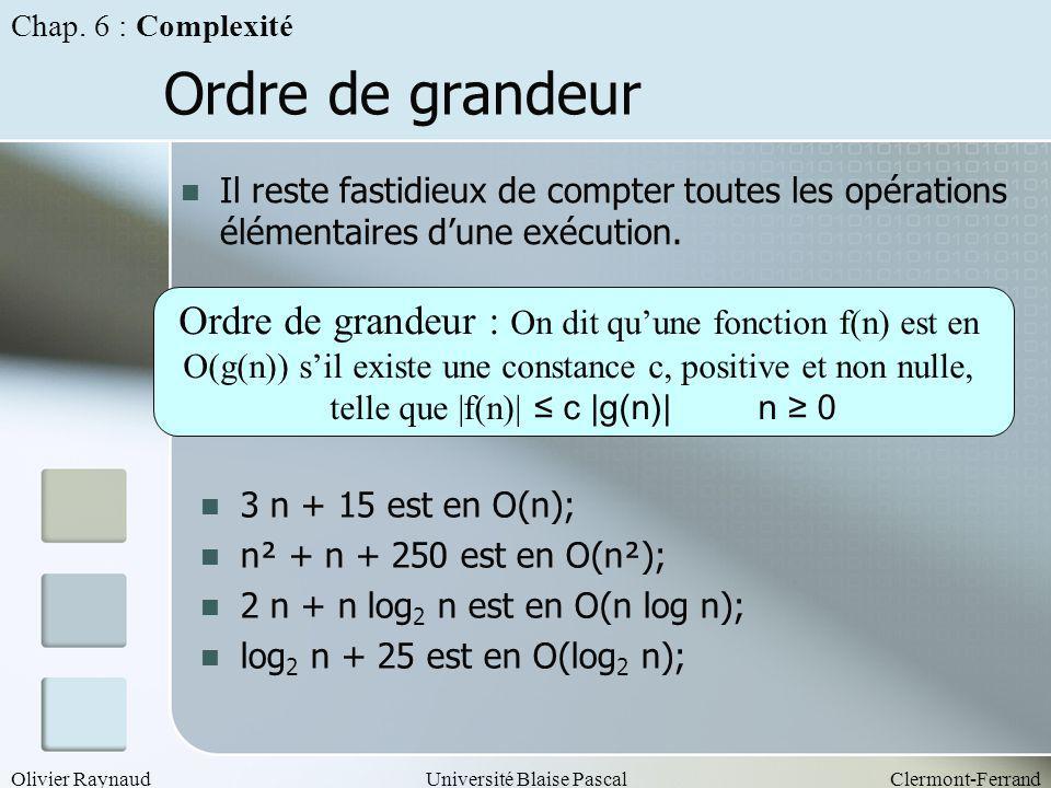 Chap. 6 : Complexité Ordre de grandeur. Il reste fastidieux de compter toutes les opérations élémentaires d'une exécution.