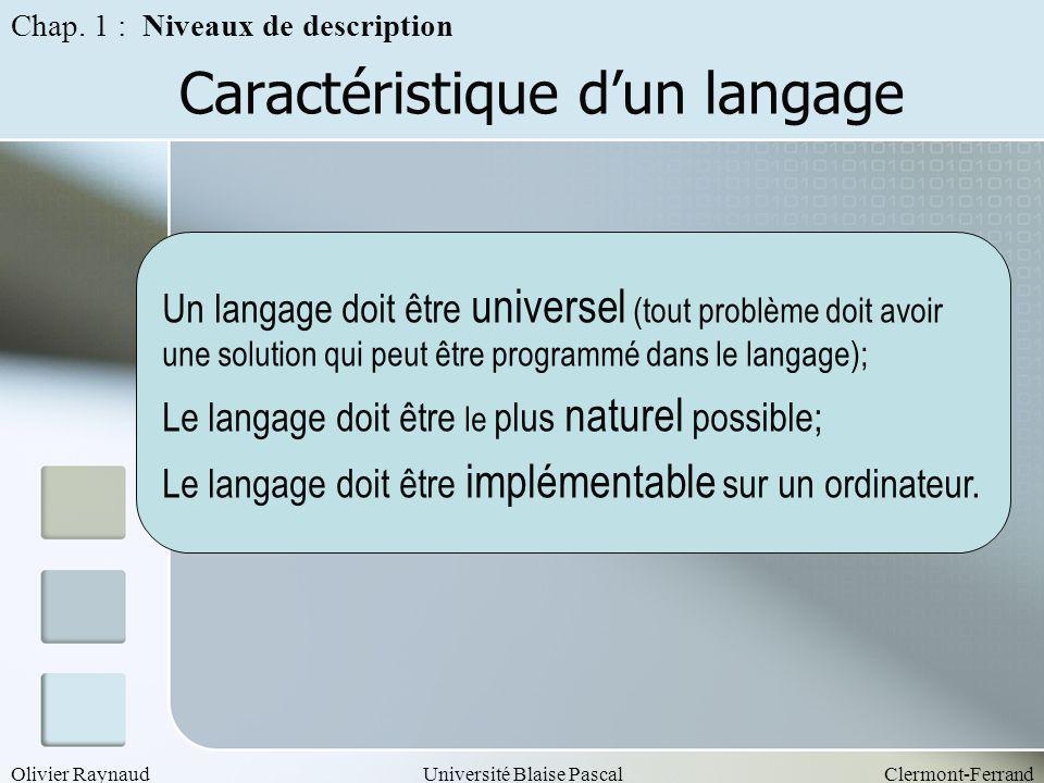 Caractéristique d'un langage