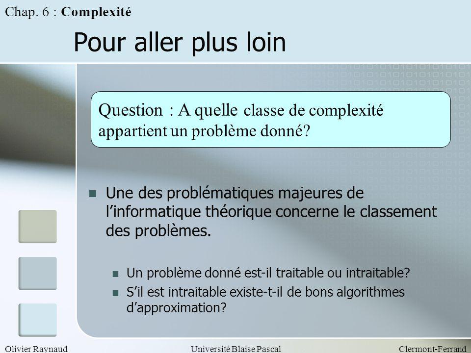 Pour aller plus loin Question : A quelle classe de complexité