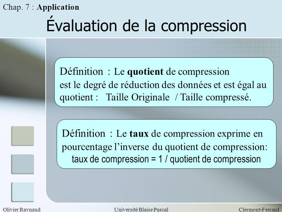 Évaluation de la compression
