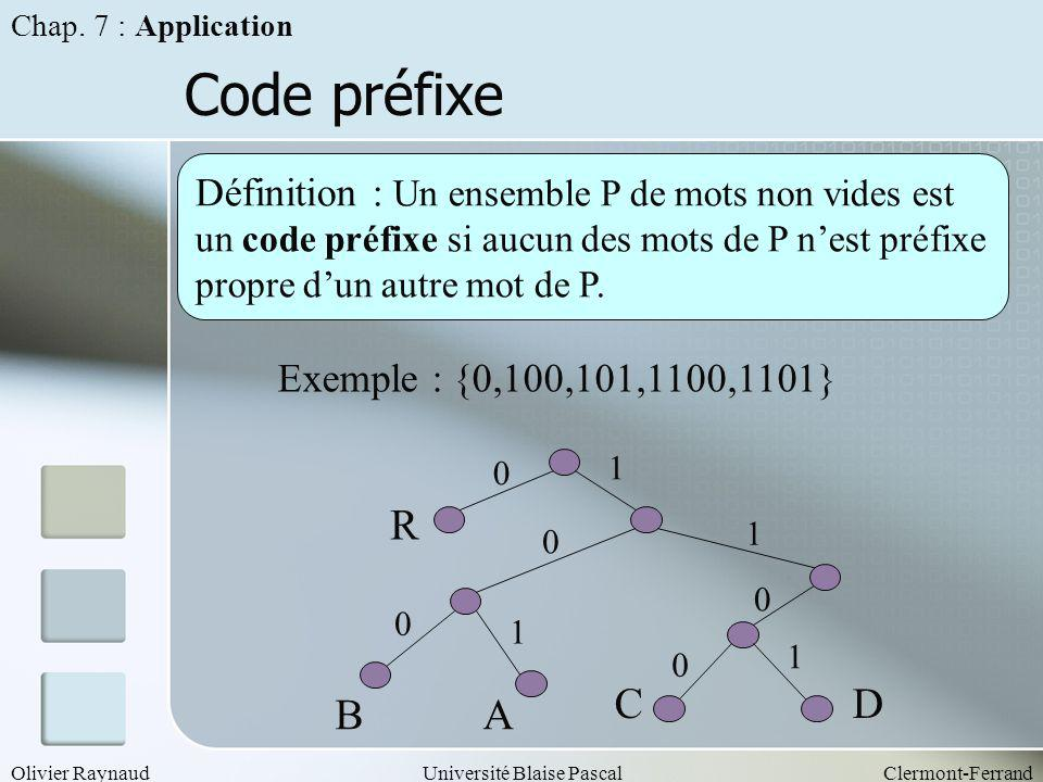 Chap. 7 : Application Code préfixe.