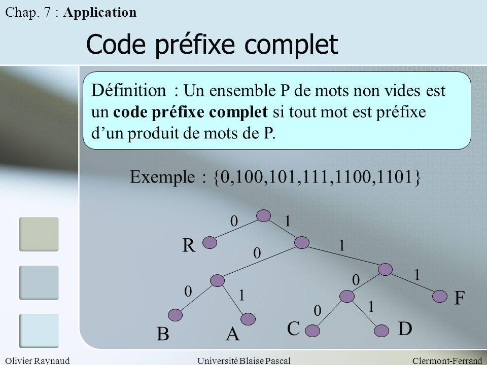Code préfixe complet R F C D B A