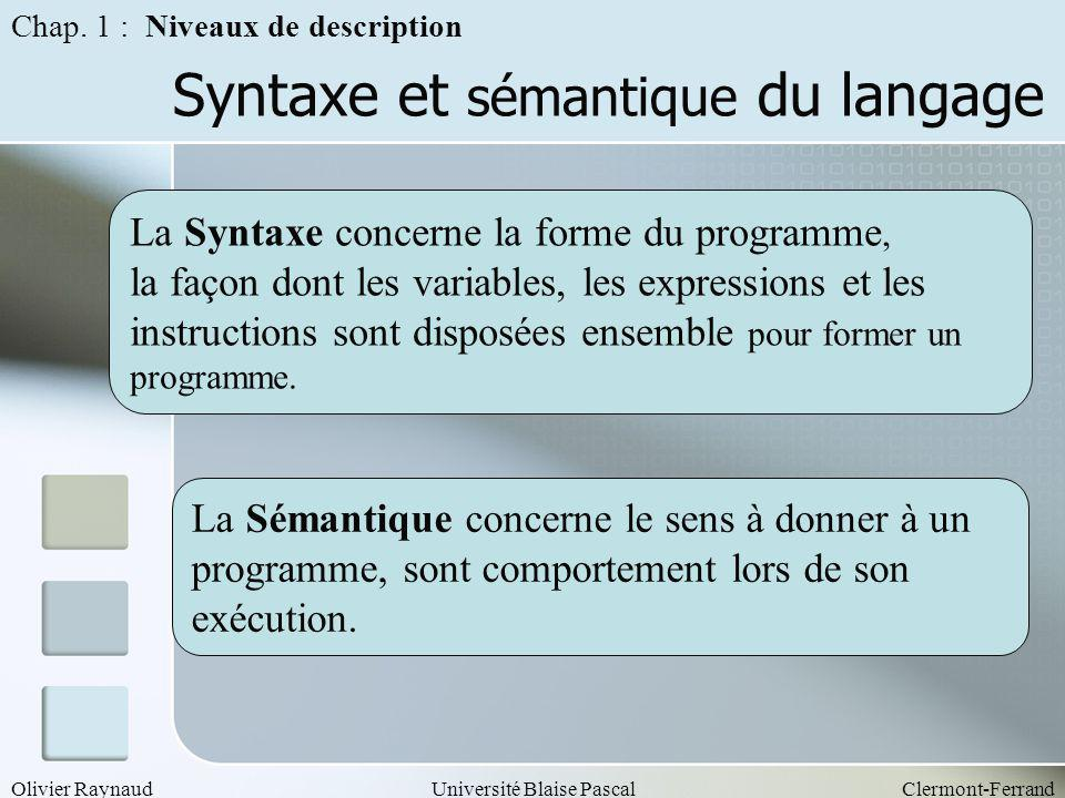 Syntaxe et sémantique du langage