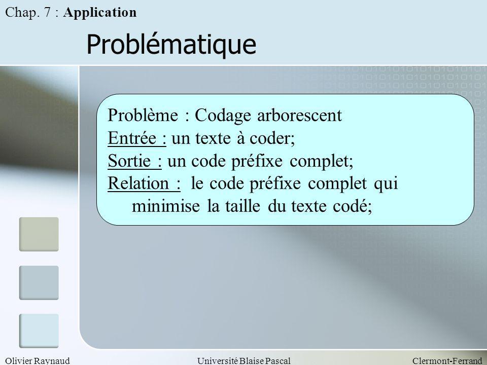 Problématique Problème : Codage arborescent Entrée : un texte à coder;