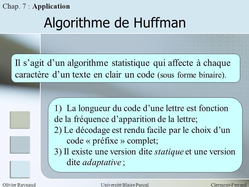 Chap. 7 : Application Algorithme de Huffman.
