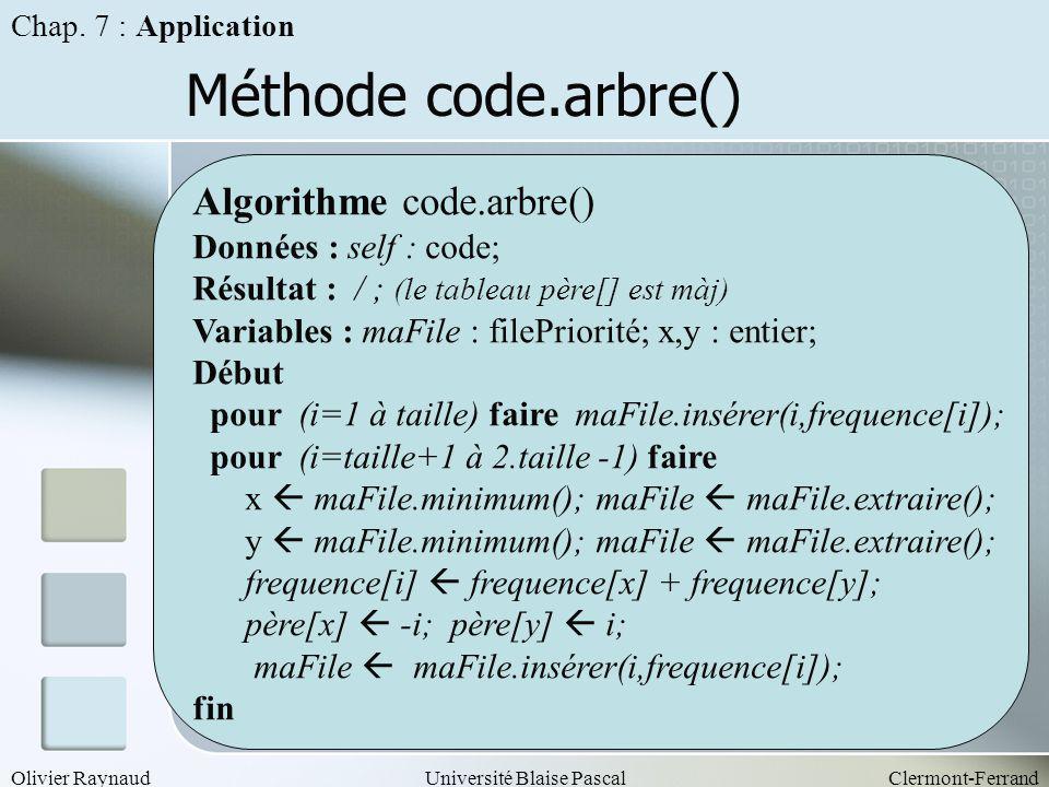 Méthode code.arbre() Algorithme code.arbre() Données : self : code;