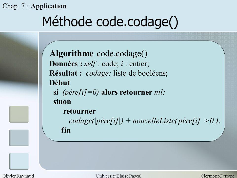 Méthode code.codage() Algorithme code.codage()