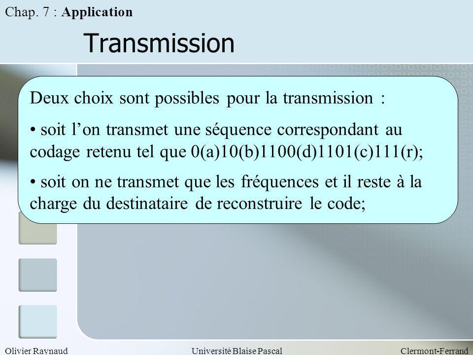 Transmission Deux choix sont possibles pour la transmission :