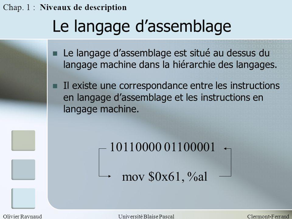 Le langage d'assemblage