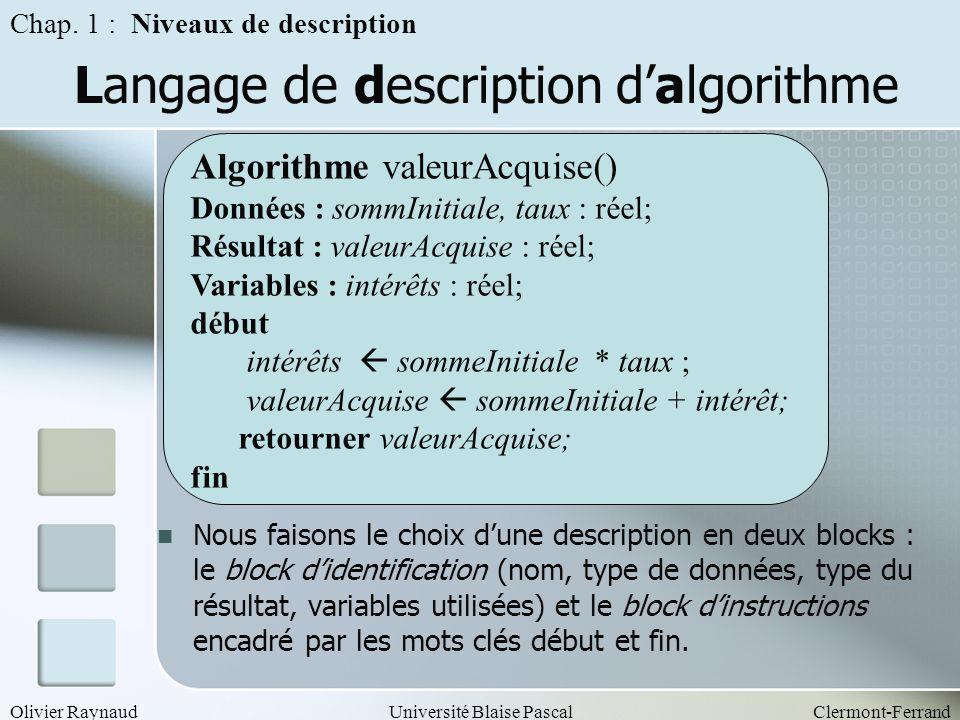 Langage de description d'algorithme