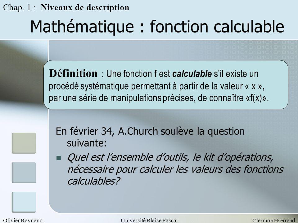 Mathématique : fonction calculable