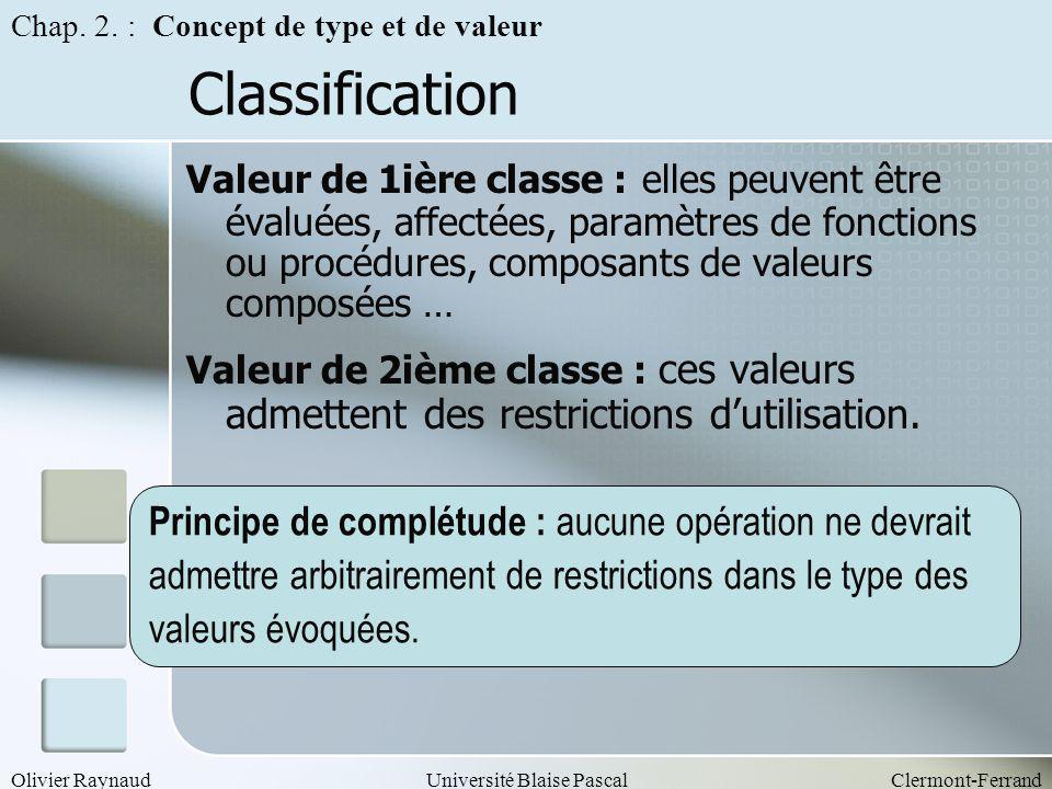 Classification Principe de complétude : aucune opération ne devrait