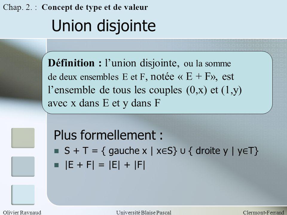 Union disjointe Plus formellement :