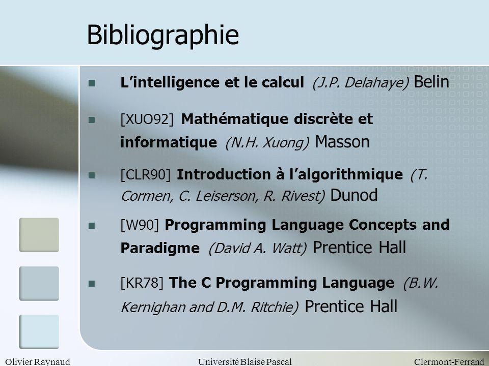 Bibliographie L'intelligence et le calcul (J.P. Delahaye) Belin