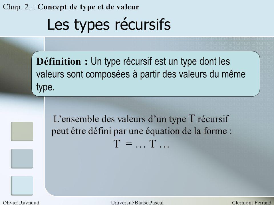 Les types récursifs T = … T …