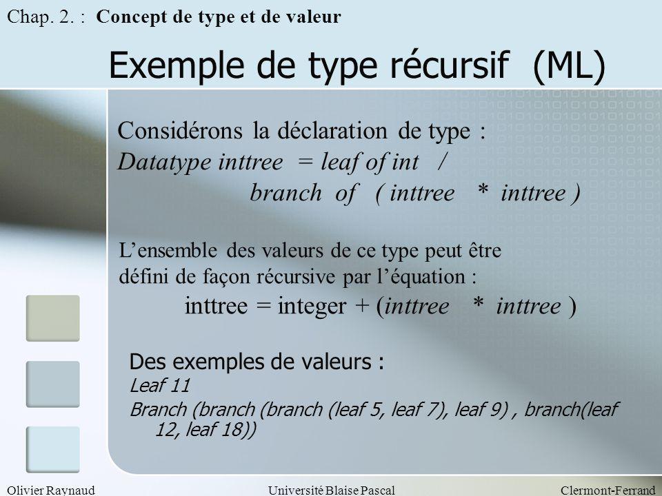 Exemple de type récursif (ML)