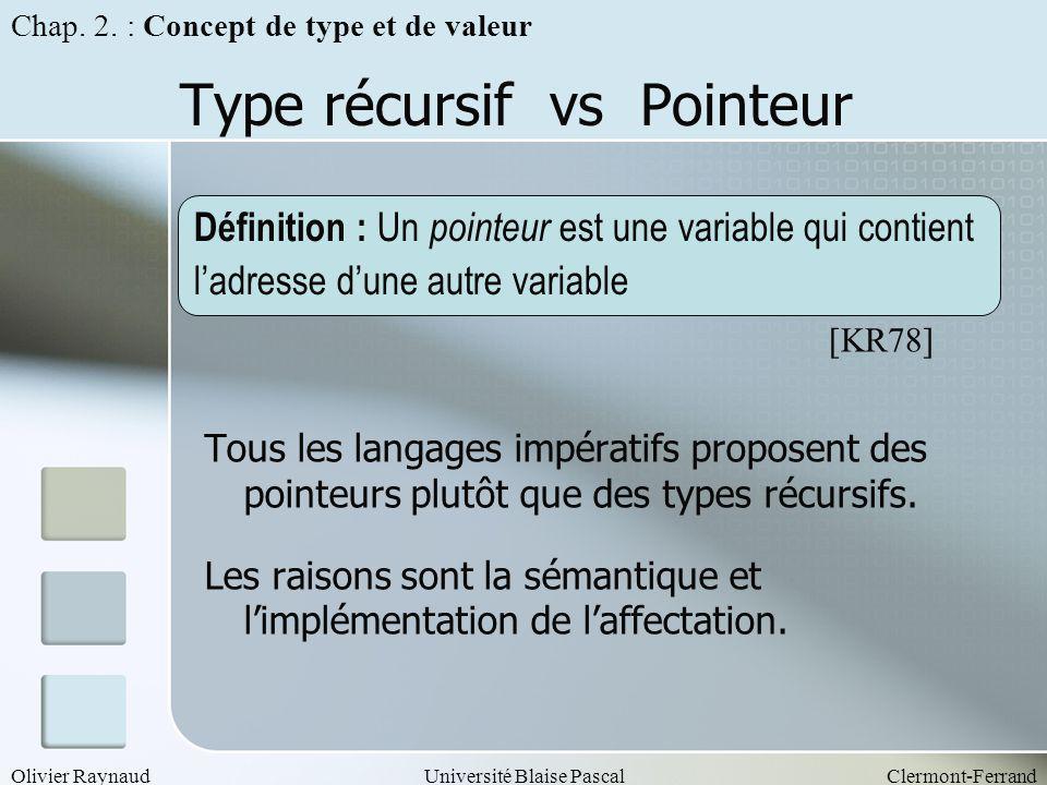 Type récursif vs Pointeur