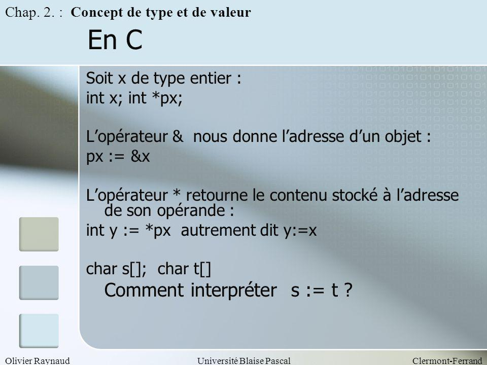 En C Comment interpréter s := t Soit x de type entier :