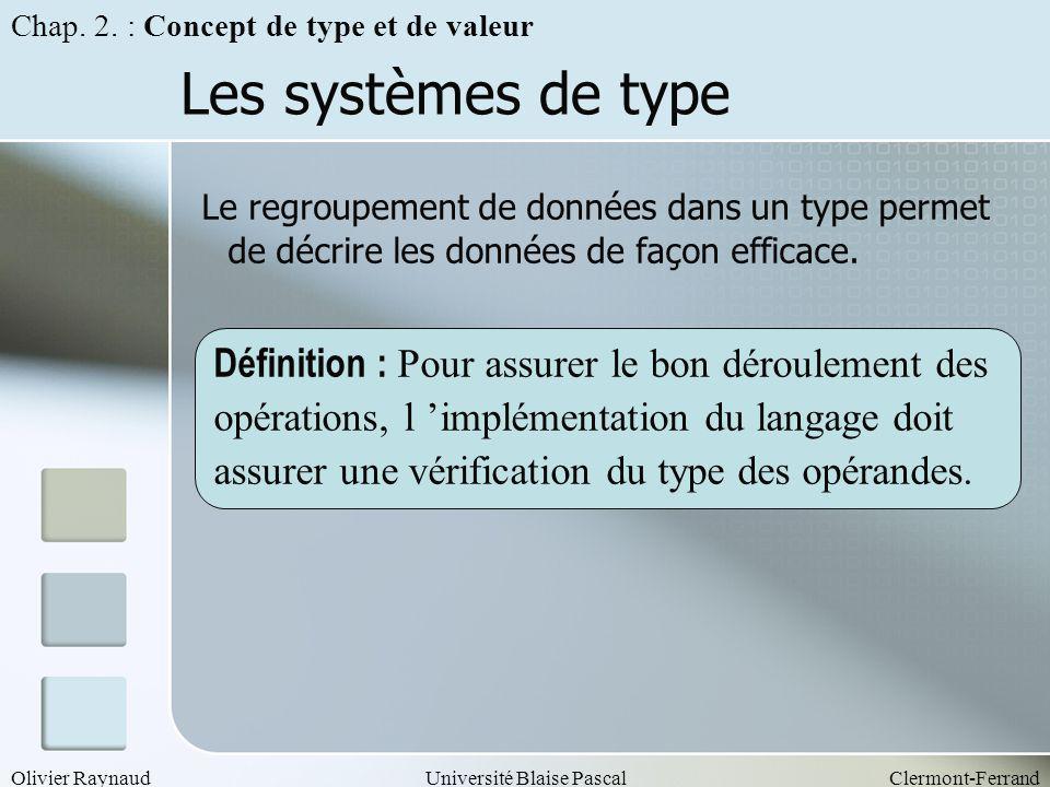 Chap. 2. : Concept de type et de valeur