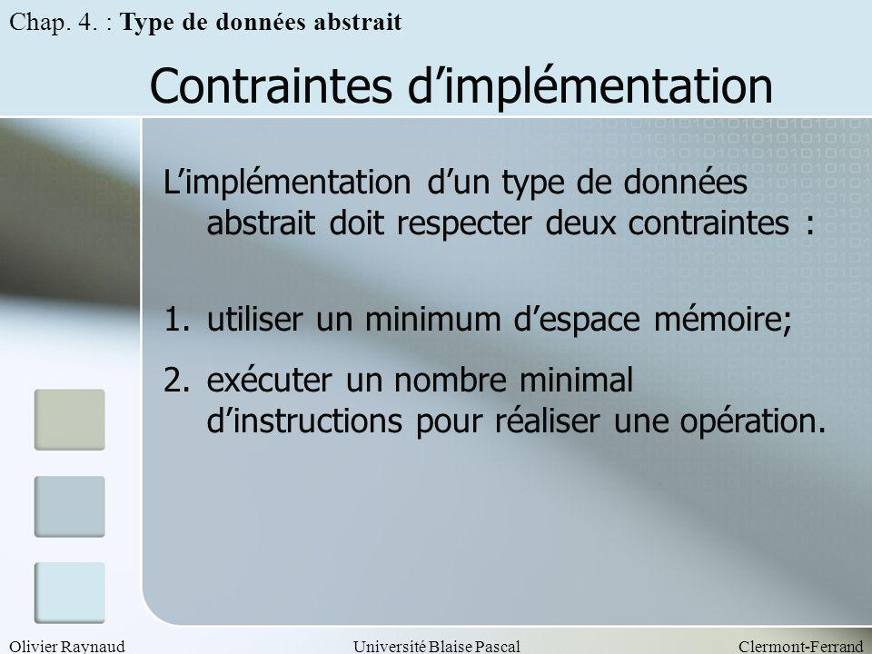 Contraintes d'implémentation