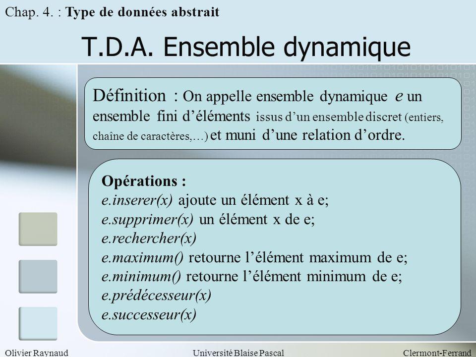 T.D.A. Ensemble dynamique