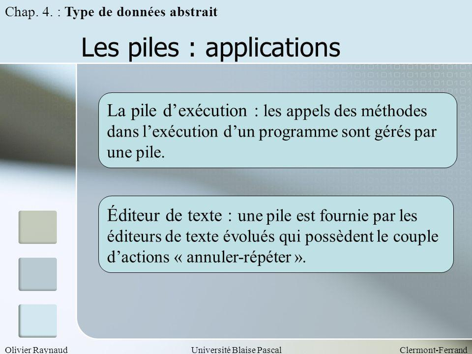 Les piles : applications