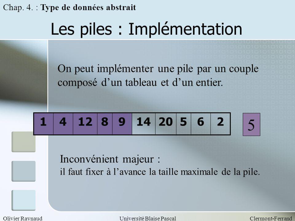 Les piles : Implémentation