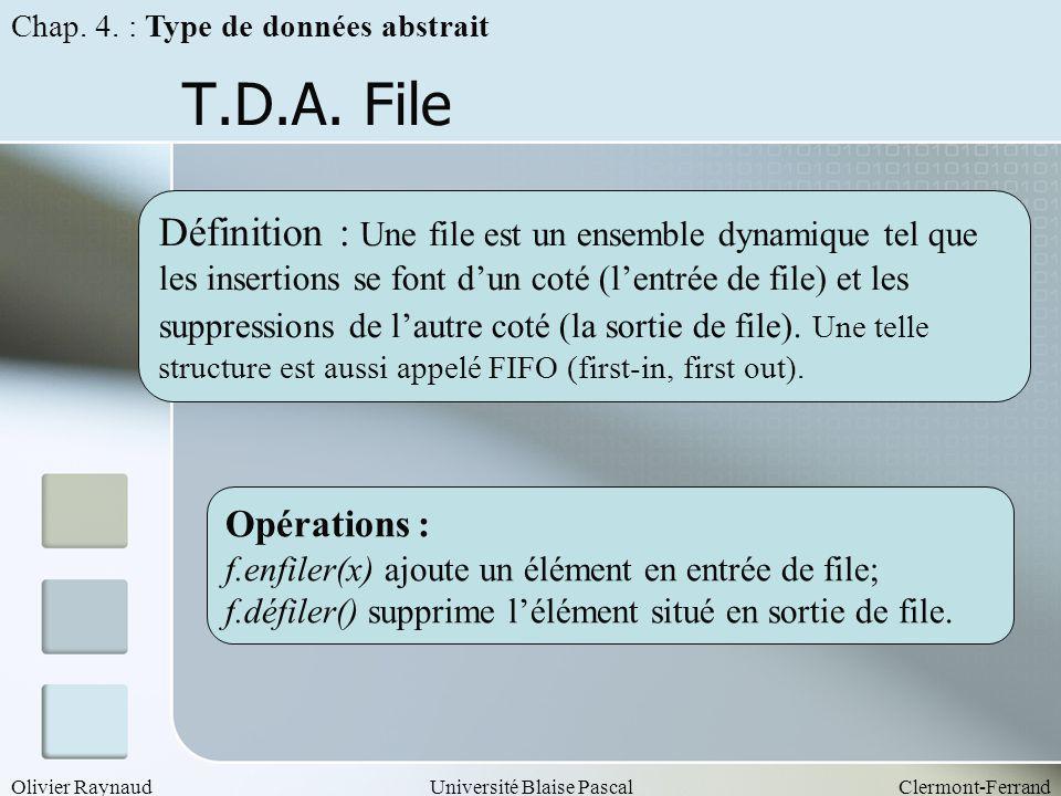 Chap. 4. : Type de données abstrait