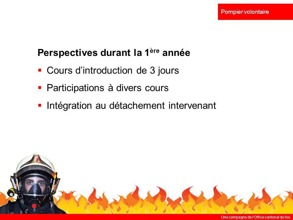 Perspectives durant la 1ère année Cours d'introduction de 3 jours