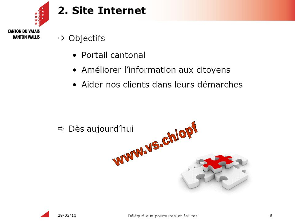 www.vs.ch/opf 2. Site Internet Objectifs Portail cantonal