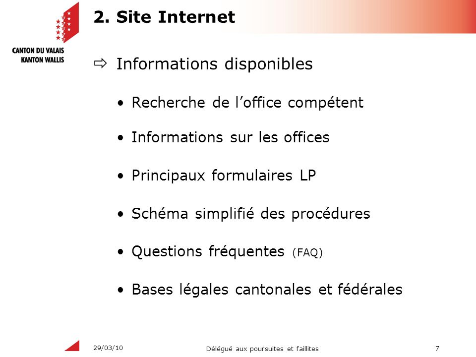 2. Site Internet Informations disponibles