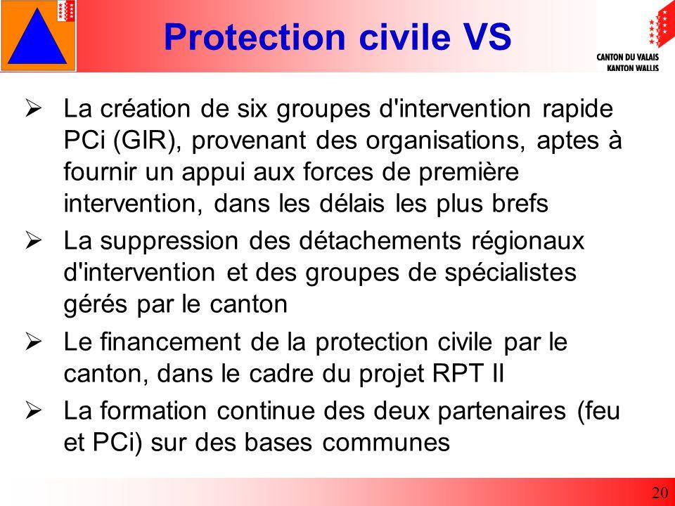La création de six groupes d intervention rapide PCi (GIR), provenant des organisations, aptes à fournir un appui aux forces de première intervention, dans les délais les plus brefs