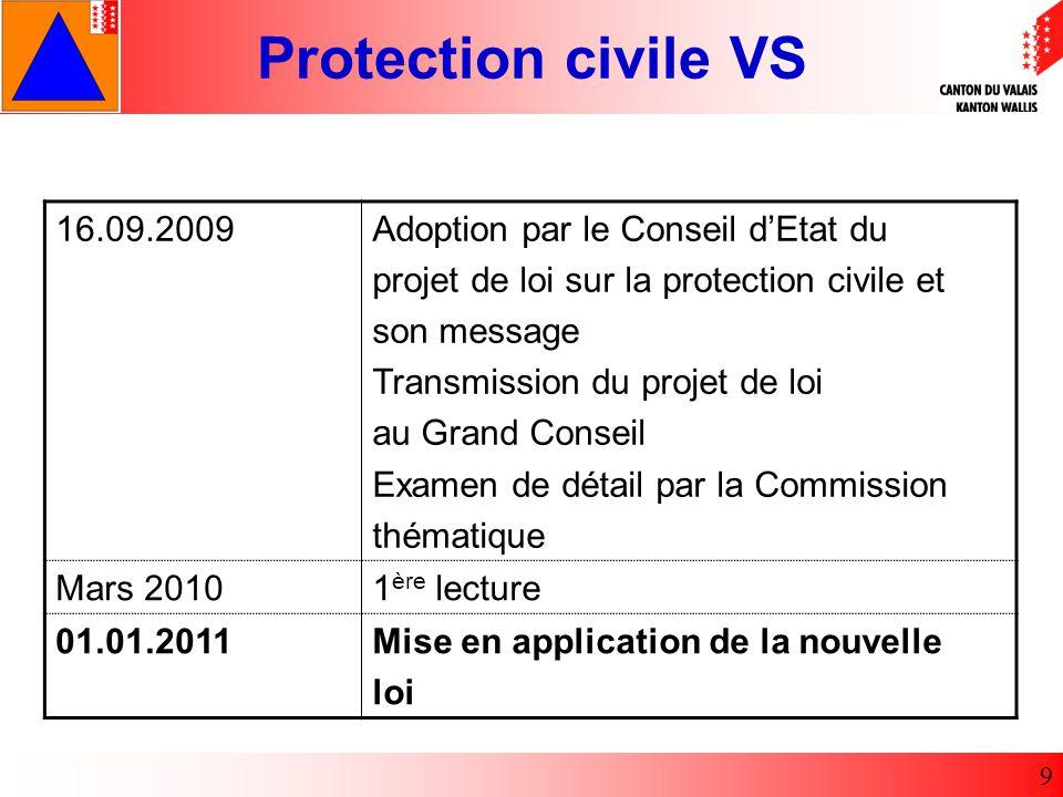 16.09.2009 Adoption par le Conseil d'Etat du. projet de loi sur la protection civile et. son message.