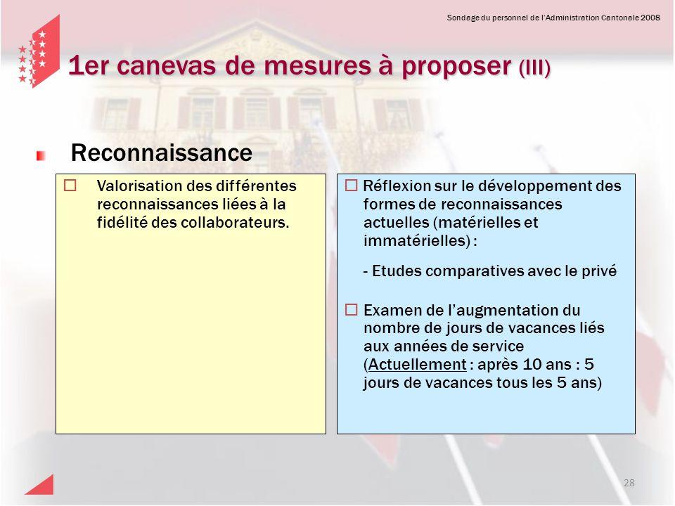 1er canevas de mesures à proposer (III)