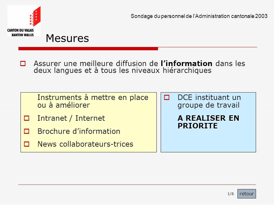 Mesures Assurer une meilleure diffusion de l'information dans les deux langues et à tous les niveaux hiérarchiques.
