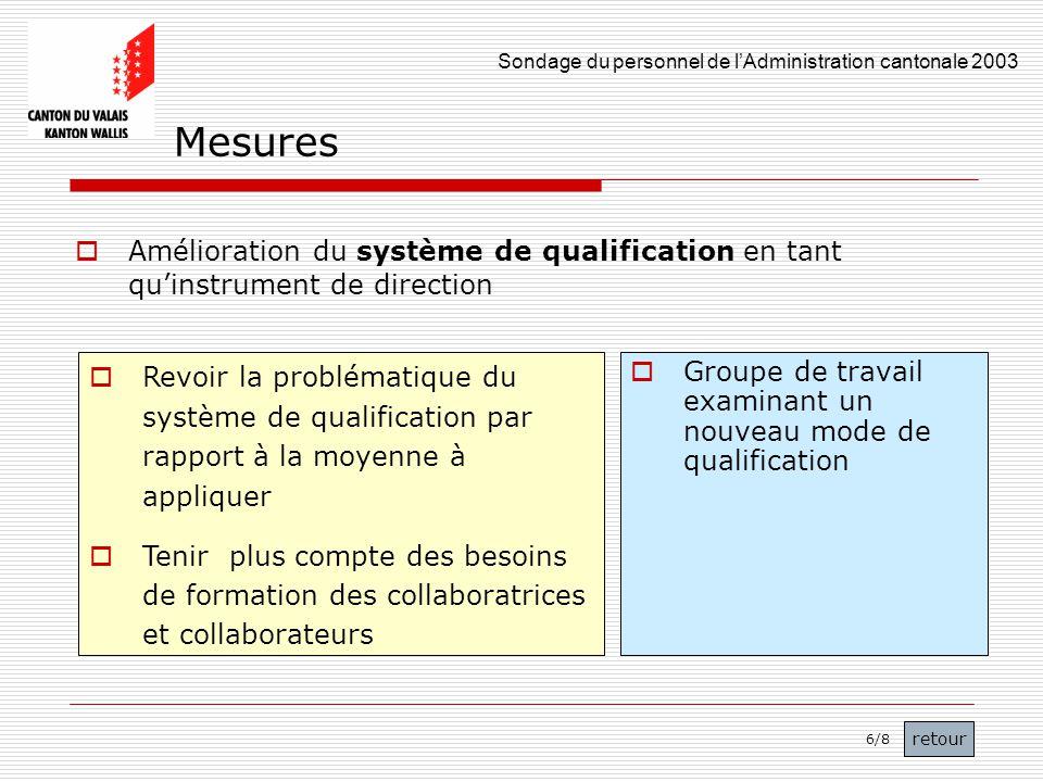 Mesures Amélioration du système de qualification en tant qu'instrument de direction.