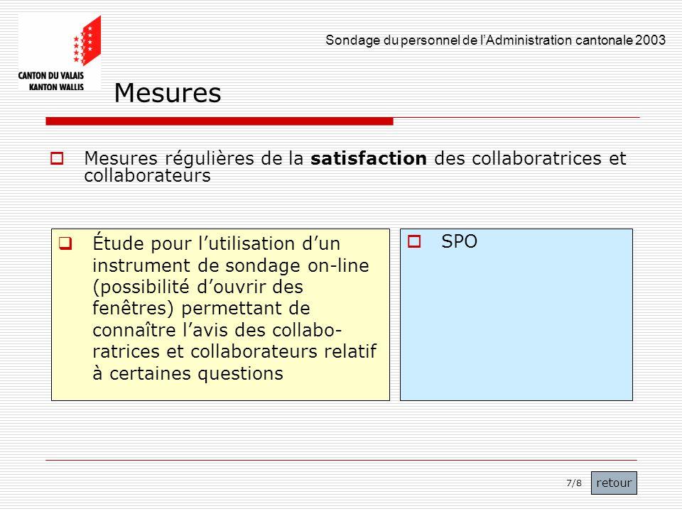 Mesures Mesures régulières de la satisfaction des collaboratrices et collaborateurs.