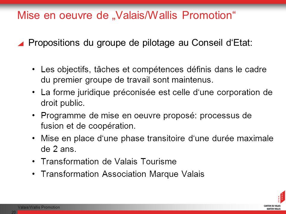 """Mise en oeuvre de """"Valais/Wallis Promotion"""