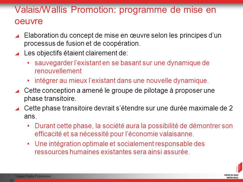 Valais/Wallis Promotion: programme de mise en oeuvre