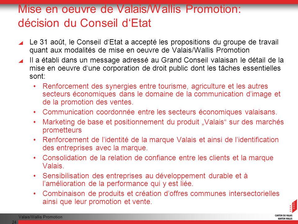 Mise en oeuvre de Valais/Wallis Promotion: décision du Conseil d'Etat
